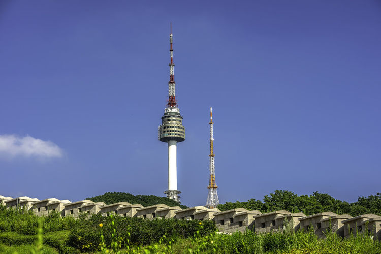 Seoul tower,Namsan tower in korea Architecture Building Building Exterior Built Structure Communication Connection Day Global Communications Nature No People Outdoors Plant Sky Spire  Tall - High Technology Tourism Tower Travel Travel Destinations
