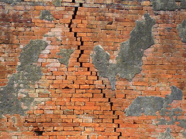 Break Brick Wall Brick Wall Brik Color Eathquake Outdoors Separation