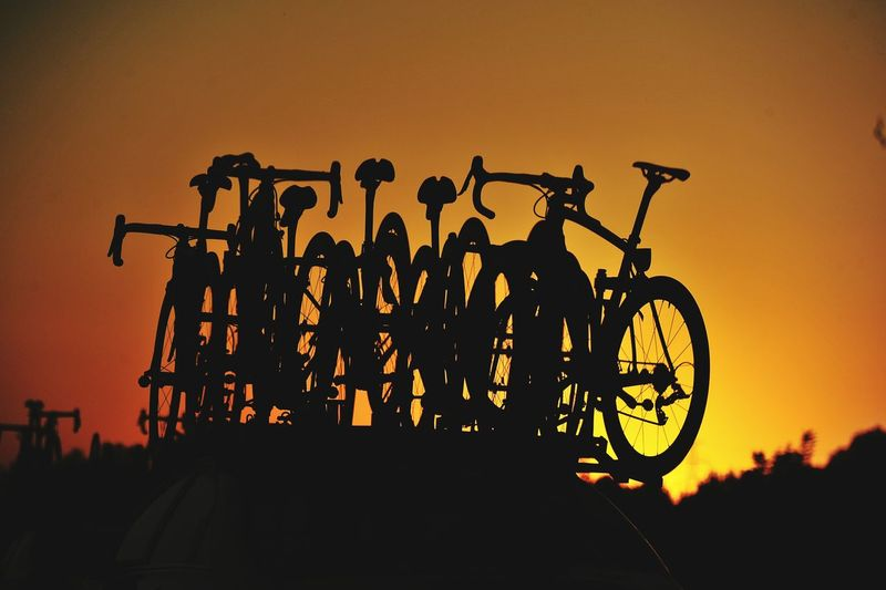Silhouette of bicycles
