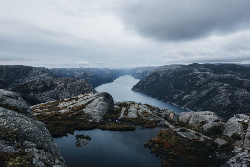 Scenic view of mountains and fjord against sky