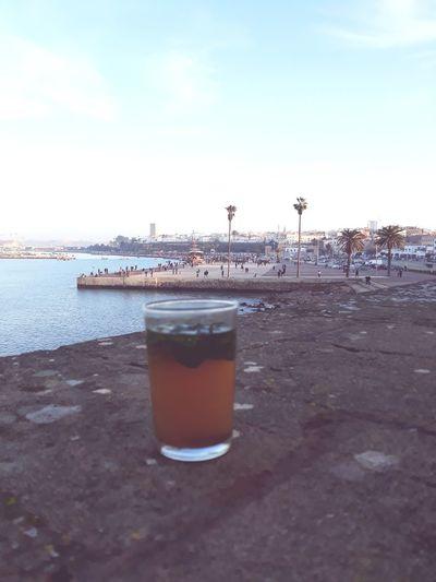 Tea Time Marina Medinarabat Viewpanoroma Drink Ice Cube Refreshment Beach Summer Outdoors Sky