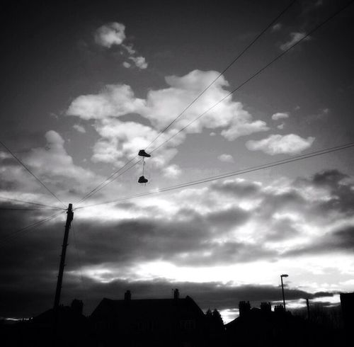 Black & White Sky And Clouds Training Shoes In The Sky Bolo Dusk In The City Sillouettes Telegraph Wires Streetphoto_bw