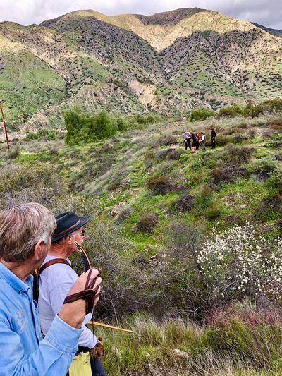 People looking at mountain range