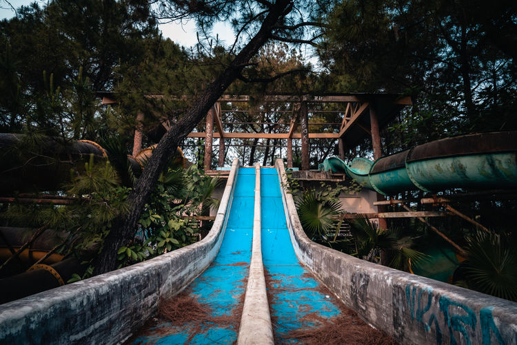 Low angle view of slides in water park