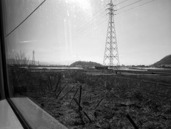 Landscape Electrical Tower Electrical Lines Steel Tower  鉄塔♡Love 電車旅 車窓から From Train Window From My Point Of View Blackandwhite Black And White Monochrome Showing Imperfection Glitch EyeEm Best Shots EyeEmBestPics