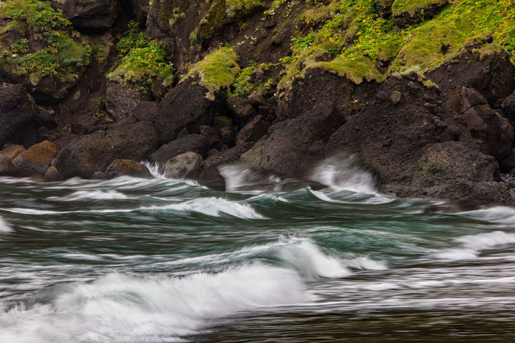 Water Motion Rock Beauty In Nature Scenics - Nature Rock - Object Nature Long Exposure Flowing Water Flowing Waterfront Outdoors Power In Nature Iceland Vik Via Island, Storm Stormy Weather Wind Wave, Water,