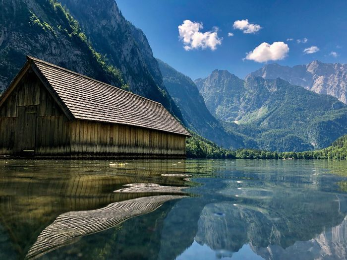 Obersee Water Surface Alps Beauty In Nature Views Sightseeing Obersee Königssee Water Mountain Architecture Lake Built Structure Nature Waterfront Beauty In Nature Building Exterior Sky Reflection Tranquility No People Tranquil Scene Mountain Range Non-urban Scene Outdoors Day House
