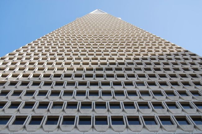 Architectural Feature Architecture Blue Building Building Exterior Built Structure California City Clear Sky Day Low Angle View Modern Office Building Outdoors Pattern Repetition San Francisco Sky Skyscraper Tall - High Tower Transamerica Transamerica Pyramid TransAmericaBuilding Window