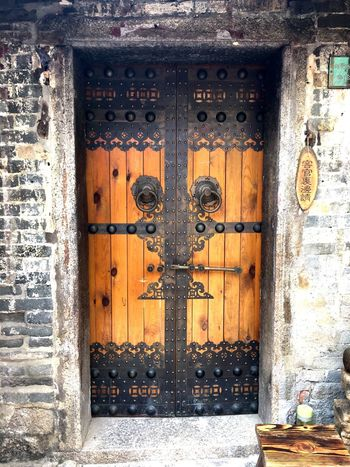 Traditional Chinese Door at Dapeng Ancient Village - Shenzhen, China Dapeng Ancient Village Dapeng Ancient Village Chinese Door Traditionally Chinese Door Doorway Doors Chinese Shenzhen Architecture Architectural Detail Chinese Architecture Wooden Door Entrance Ornate Ornate Door