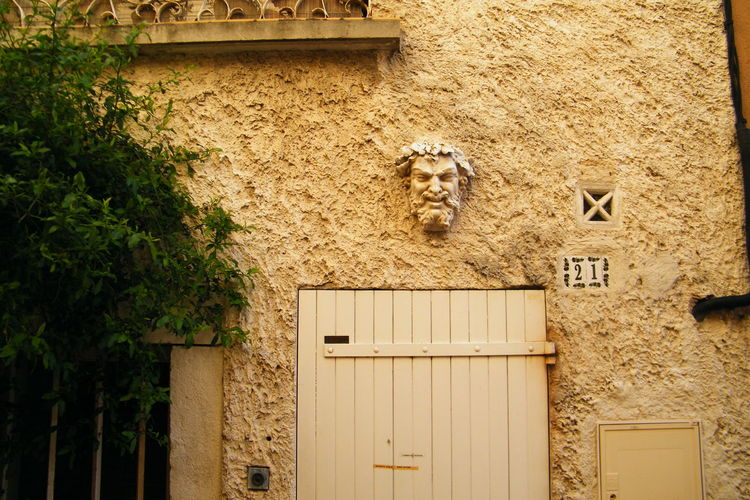Dionysos, Building Exterior Built Structure Day Door Mask Masque No People One Animal Outdoors Plant