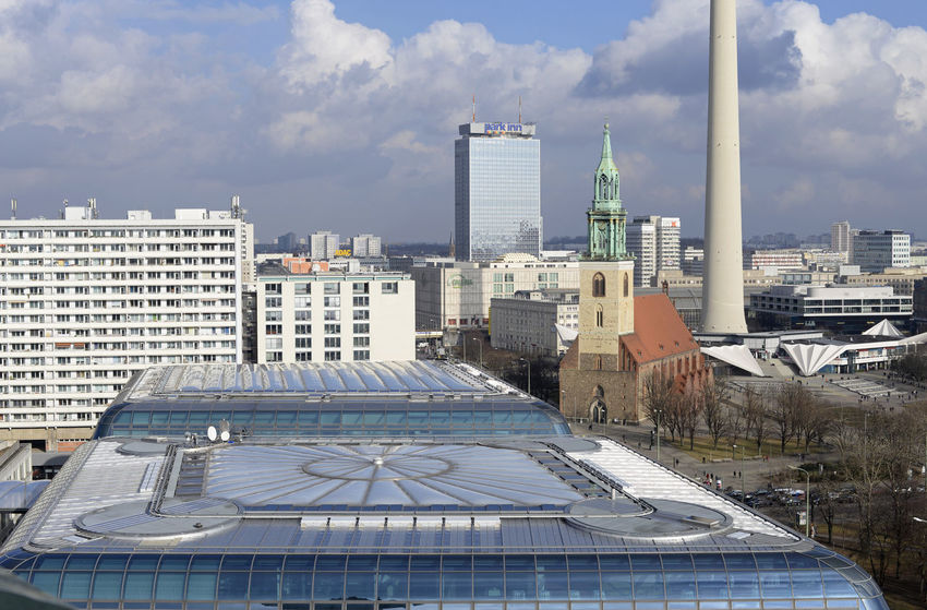 Berlin, cityscape Berlin Fernsehturm Berlin  Panorama Aerial View Architecture Building Exterior Built Structure Capital City Cityquartier Cityscape Cloud - Sky Day Germany Hotel Park Inn Marienkirche Berlin-mitte Outdoors Sky Television Tower Berlin