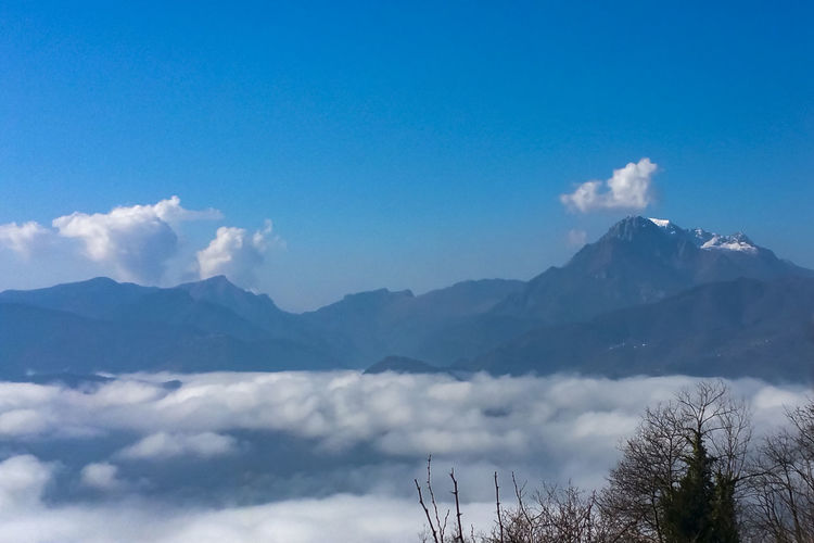 Above Clouds Above Fog Beauty In Nature Blue Sky Blue Sky And Clouds Cloud - Sky Day Fog Mountain Mountain Range Nature No People Outdoors Scenics Sky Tranquil Scene Tranquility
