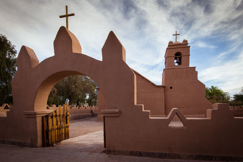 San Pedro mission. Architecture Built Structure Building Exterior Place Of Worship Sky Religion Belief Building Spirituality Cloud - Sky Cross Nature Day Tower No People Bell Tower - Tower History Outdoors Clock Spire  Church