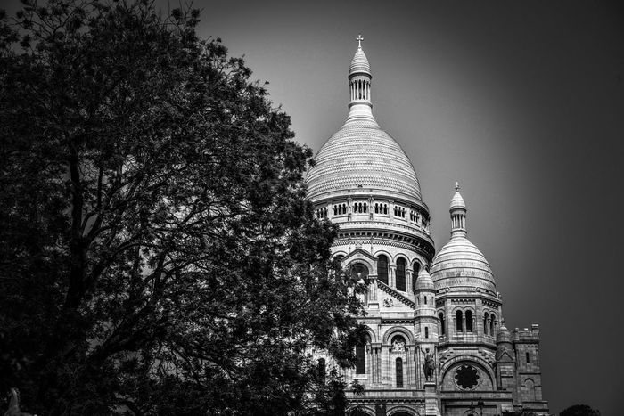 Architecture Religion Built Structure Place Of Worship Building Exterior Spirituality Dome Tree Travel Destinations Low Angle View History Sky No People Day Outdoors Sacré-Cœur De Montmartre Basilica Building Monochrome _ Collection EyeEm Best Shots - Black + White Architectural Photography Black And White Photography Monochrome Photography Black & White Architecture