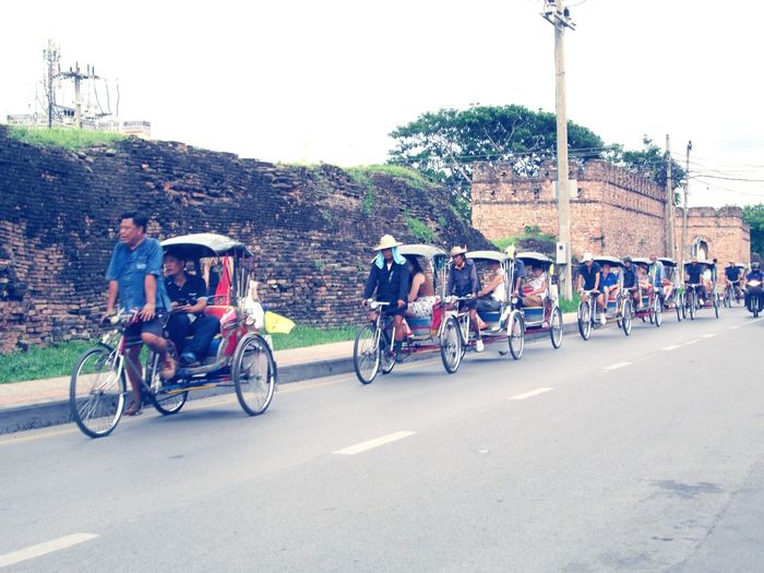 Bicycle taxi service for sighseeing in Chiang mai, Thailand People Street Transport Chiangmai Thailand Vintage Old City Wall Sightseeing Traveling Road Bicycle
