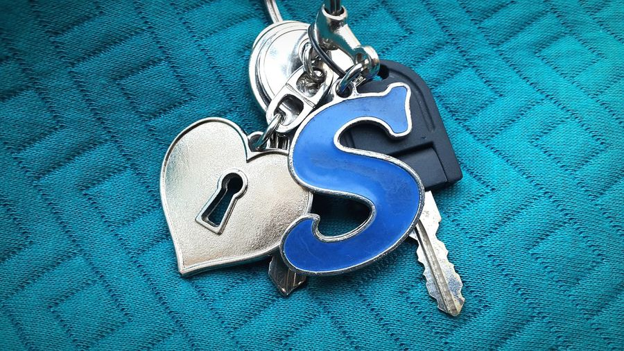 """S"" Initial My Love Key Blue Day"
