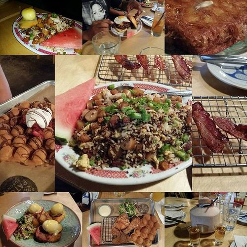 Omg so much food. But it was all tasty and now I can't breath. Worth it. LOL Nycalive Patois Patoistoronto toronto canada foodoverload foodie foodporn ruckdown2015 ruckdown coconutdrink friedrice burger bacon icantmove somuchfun laughter goodtimes goodpeople goodfriends