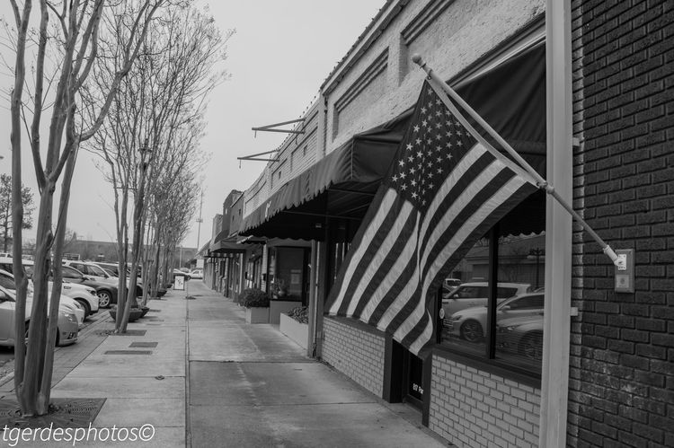 Architecture Black & White Black And White Photography Building Exterior Built Structure Day Flag Flag Pole No People Outdoors Overcast Skies Sidewalk Photograhy Sky Small Town America Small Town USA Storefront Street Photography Tree
