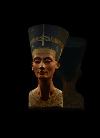 The bust of Nefertiti, Egyptian queen and the Great Royal Wife of Akhenaten, an Egyptian Pharaoh, from the Aegyptisches Museum Berlin collection, presently in the Neues Museum Ancient Antique Done That. Egypt Nefertiti Queen Ancient Civilization Art Black Background Bust  Close-up Culture Discover Berlin Exhibition Gold Colored Heritage History Human Representation Indoors  Museum One Person Pharaoh Religion Sculpture Statue