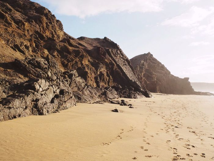 Scenic view of cliffs on the beach in fuerteventura