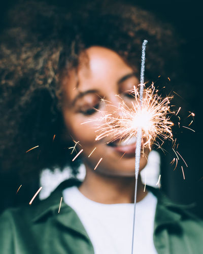American Bday Beauty Brunette Celebration Close-up Focus On Foreground Girl Headshot Leisure Activity Lifestyles Lights Portrait Sparkler Sparks Street