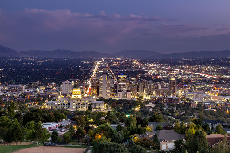 Salt Lake City lights Architecture Night Nature City Sky Dusk Building Outdoors Illuminated Skyscraper Cityscape Crowd Crowded Mountain High Angle View Mountain Range Cloud - Sky Building Exterior Residential District Built Structure Office Building Exterior SONY A7III TOWNSCAPE Capital Lookout Ensign Peak Nature Park