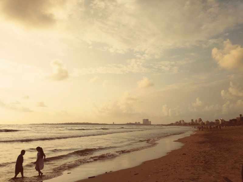Beach Sand Sea Water Cloud - Sky Outdoors Sunset Sky People Nature Beauty In Nature Children Playing Waves On The Shore Secluded  Secluded Beach Secluded Spot Waterbaby Nostalgia Childhood Weekendfun Memories EyeEmNewHere. Smartphonephotography MumbaiDiaries Profound