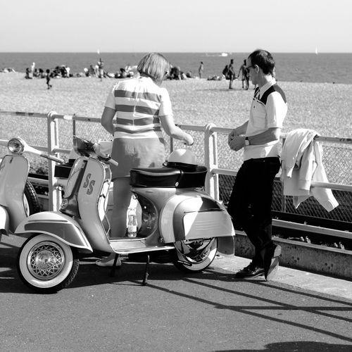 Mods 3. Brighton August bank holiday weekend. Beach Real People Seaside Fujifilm_xseries Vespa Vespavintage Mods Mods Scooters EyeEm Selects Brighton Beach Blackandwhite