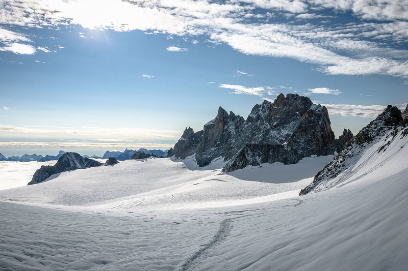 panoramic view over a glacier Alpine Alpine Hiking Alpine Landscape Beauty In Nature Blue Sky Cold Temperature Day EyeEmNewHere Glacier Hiking Ice Landscape Mountain Nature No People Outdoors Rocks Scenics Sky Snow Track Tranquility The Great Outdoors - 2017 EyeEm Awards
