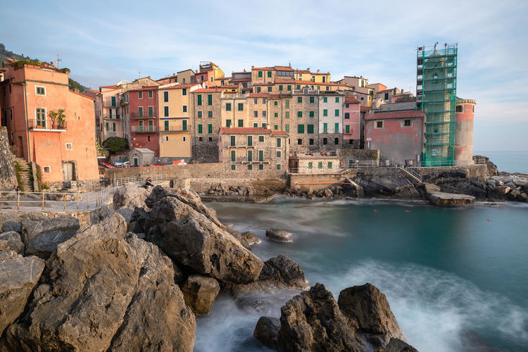 Tellaro, La Spezia Province, Italy Water Building Exterior Built Structure Architecture Rock Sky Solid Sea Rock - Object Building Nature City Day No People Land Motion Cloud - Sky Outdoors Liguria Italy Travel Destinations La Spezia Tellaro EyeEm Best Shots EyeEm Selects