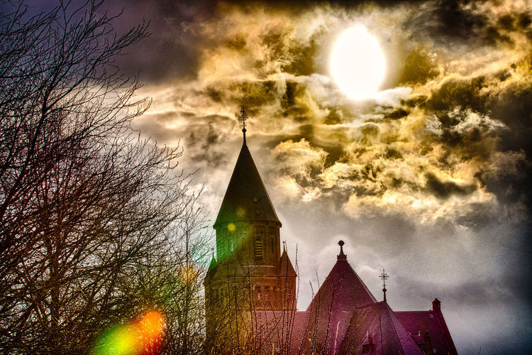 god is watching Architecture Building Exterior Built Structure Church Cloud - Sky Clouds And Sky Day Dramatic Sky EyeEm HDR HDR Collection Hdr Edit Hdr_Collection Nature No People Outdoors Place Of Worship Religion Sky Spirituality Sun Leak Tree