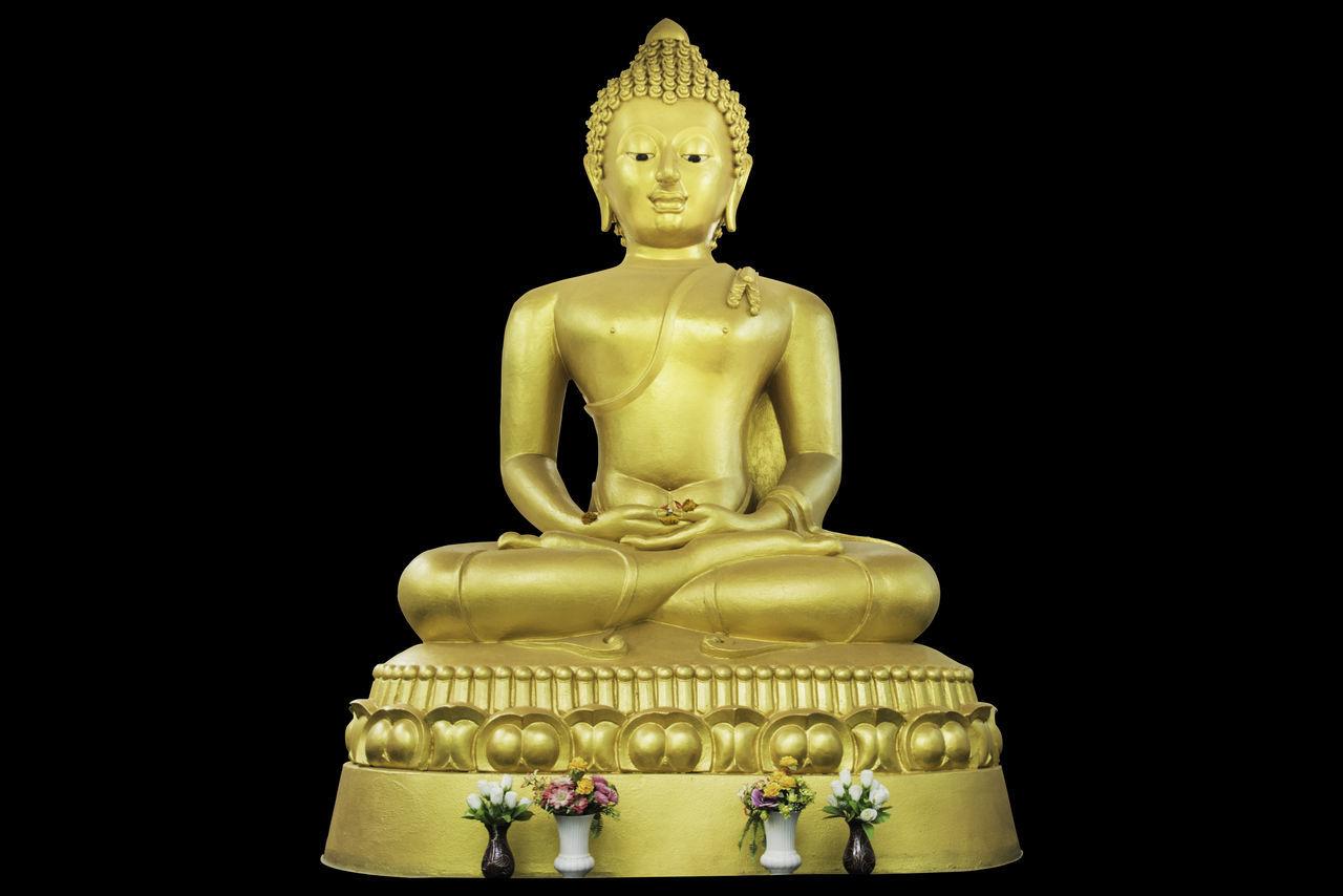 statue, male likeness, sculpture, human representation, idol, spirituality, religion, black background, no people, golden color