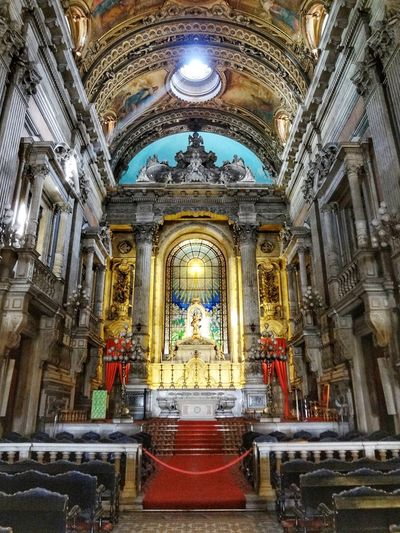 Interior of Candelária Cathedral, Rio de Janeiro, Brazil. Church Church Architecture Cathedral Rays Of Light Symmetry Symmetrical Bright Colors Religion Place Of Worship Spirituality Human Representation Sculpture Statue Indoors  Altar No People Architecture Built Structure Travel Destinations