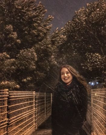 Bestoftheday Looking At Camera Portrait Young Adult Young Women One Person Smiling Standing Tree Front View Curly Hair Lifestyles Real People One Young Woman Only Beautiful Woman Women Outdoors Warm Clothing People Adults Only Adult