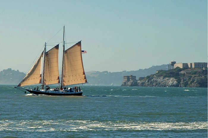 California San Franciso Ocean Sailing Alcatraz In Sight