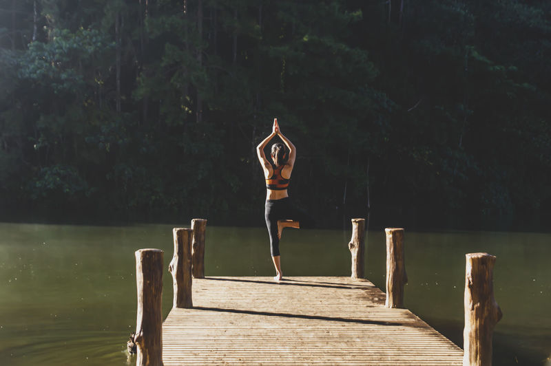 Rear view of woman in tree pose over pier