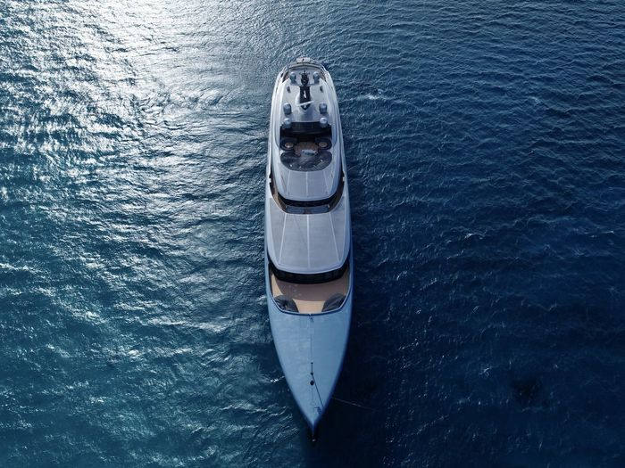 High angle view of yacht on sea