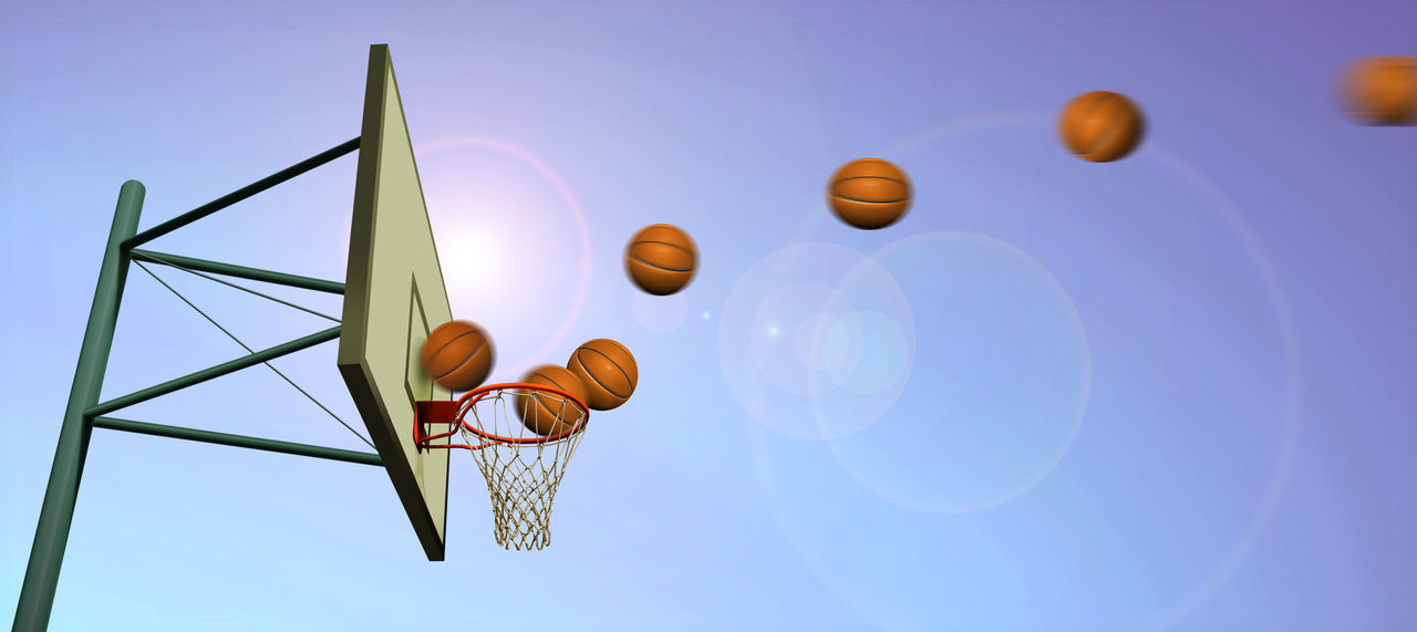 low angle view, sky, no people, nature, day, mid-air, clear sky, blue, sport, sunlight, basketball - sport, outdoors, ball, balloon, close-up, focus on foreground, motion, basketball hoop, basketball - ball, design, directly below