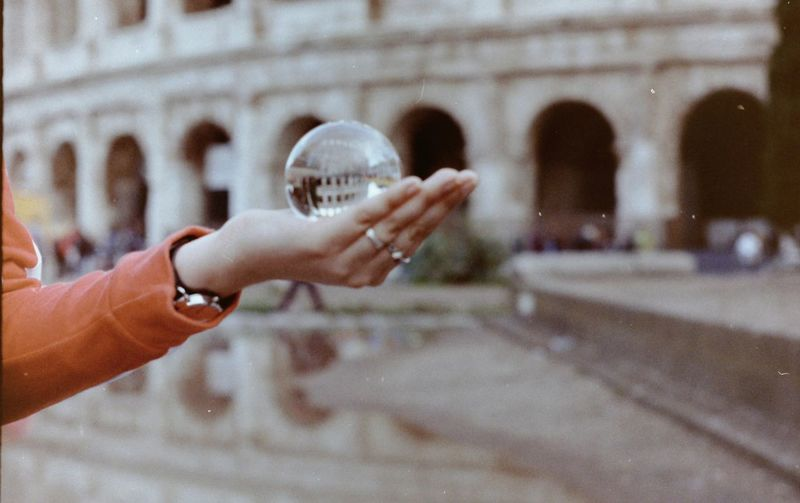 Selective Focus Italy Rome Hand 180° Sphere Colosseum Reflection Lensball Ball Crystal Ball Film Photography Kodak Human Hand City Women Holding Close-up Historic
