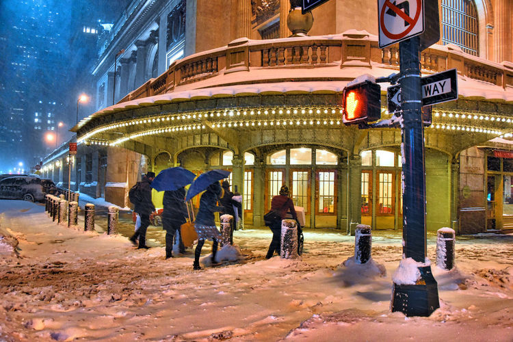 42nd Street, NYC Architecture Blizzard 2016 Building Exterior City City Life Family Family❤ Grand Central 42st Grand Central Terminal Illuminated Incidental People New York City New York ❤ New York, New York Night Night Time Photography NYC NYC Street People Snow Snowstorm2016 Snowstormjonas Street Weather