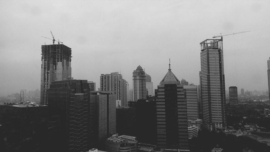gloomy metropolis Jakartaselamanya Monochrome Cityscape