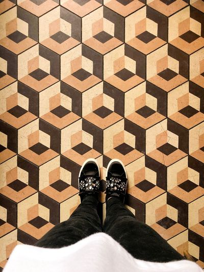 I have this thing with floors 😍 beautiful modern and geometric tiles floors. People looking down. Woman shoes. Interior Design Flat Lay Modern Decoration Flat Lay I Have This Thing With Floors Low Section Shoe Human Leg Body Part Human Body Part Personal Perspective One Person Pattern Standing Indoors  Flooring High Angle View Tile Tiled Floor Unrecognizable Person