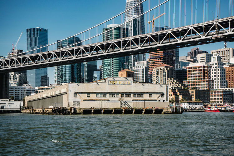 Heading to San Francisco Architecture Built Structure Water Transportation Building Exterior City Bridge Bridge - Man Made Structure Sky Connection Nautical Vessel Waterfront Day River Building Mode Of Transportation Nature Office Building Exterior No People Outdoors Skyscraper Cityscape Passenger Craft Financial District