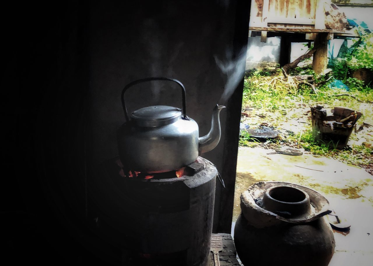 container, no people, day, metal, nature, stove, household equipment, heat - temperature, kitchen utensil, appliance, camping stove, tea kettle, food and drink, front or back yard, indoors, old, still life, teapot, animal themes