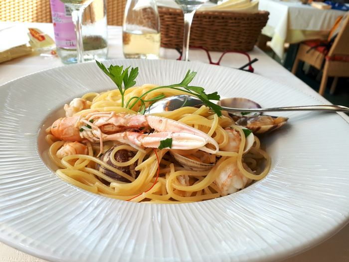 Food And Drink Food Spaghetti Plate Freshness No People Herb Ready-to-eat Cooked Close-up Healthy Eating Fish Lunch Eating At The Beach Seafood Seafood Pasta Shrimp Pasta Scampi Pasta
