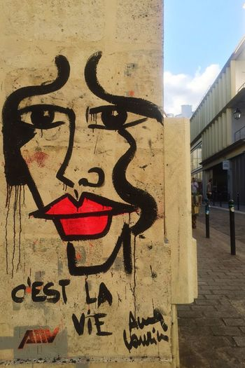 #cestlavie by @annalaurini #annalaurini #annalauriniblue #redlips #streetart #graff #spray #bombing #wall #paris