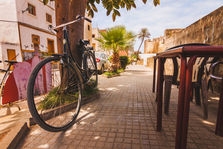 Architecture Bicycle Built Structure City Coffeeshop Day Diminishing Perspective Empty Footpath Morocco Narrow No People Outdoors Parked Parking Residential Building Sky Stationary Sunlight The Way Forward Town Tree Vanishing Point Walkway Traveling Home For The Holidays