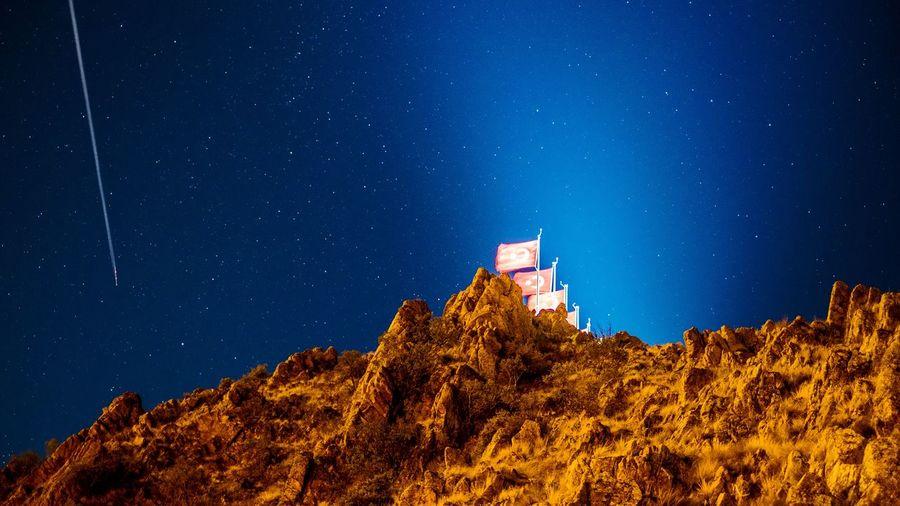 Yozgat Şüheda Tepesi Yozgat Nightphotography Flags In The Wind  Turkey EyeEmNewHere Astronomy Galaxy Space Milky Way Star - Space Star Trail Long Exposure My Best Travel Photo