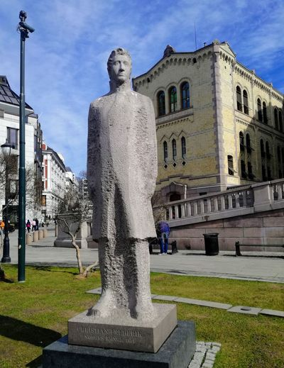 'ANOTHER KING' In Front Of The Governmental Building' Built Structure Old Architecture Architectural Detail Sculpture Park Streetphotography City Life Beautiful Day Blue Sky Lovely Oslo 2018 KJ✨ City Water Spraying Statue Sculpture History Fountain Sky