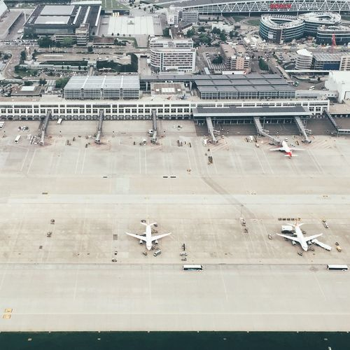 Aerial view of airplanes at airport